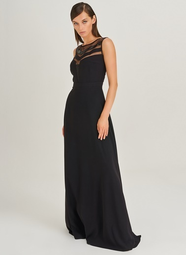 People By Fabrika Tül ve Pul Detaylı Abiye Elbise Siyah